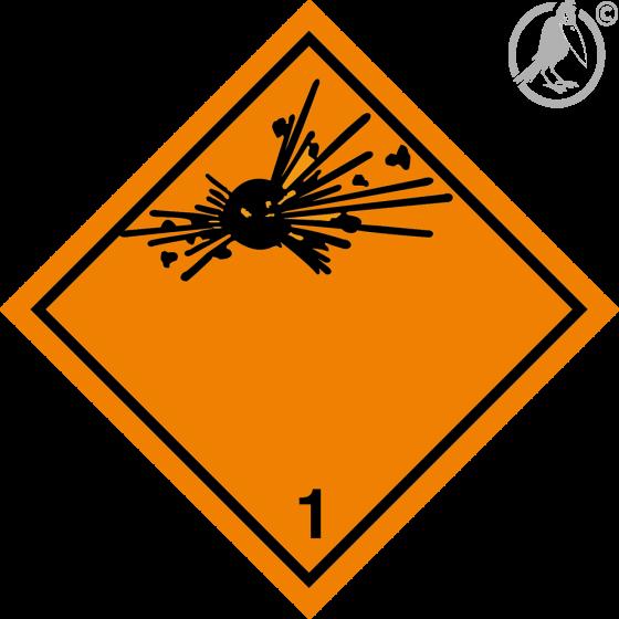 Gefahrgutaufkleber Klasse 1, ohne Angabe der Unter,- sowie der Verträglichkeitsklasse