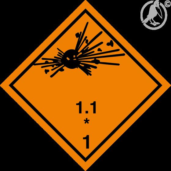 """Gefahrgutaufkleber Klasse 1 / Unterklasse 1.1 """"explosive Stoffe und Gegenstände"""" nach Verträglichkeitsgruppe"""