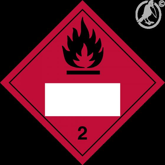 Gefahrgutaufkleber Klasse 2.1 FLAMMABLE GAS mit Eindruck - 250 x 250 mm