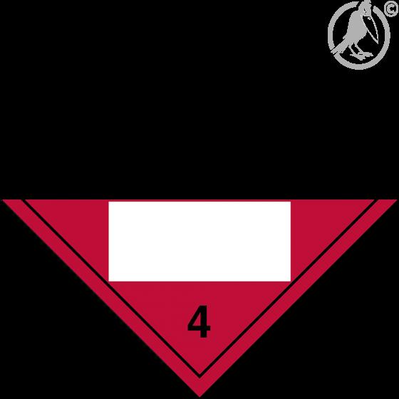 Gefahrgutaufkleber Klasse 4.2 SPONTANEOUSLY COMBUSTIBLE mit Eindruck - 250 x 250 mm