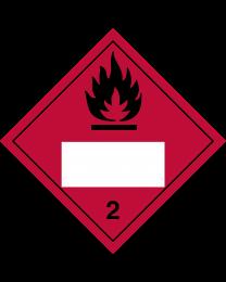 Gefahrgutaufkleber Klasse 2.1 FLAMMABLE GAS mit Eindruck - 300 x 300 mm