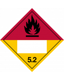Gefahrgutaufkleber Klasse 5.2 ORGANIC PEROXIDE mit Eindruck - 250 x 250 mm