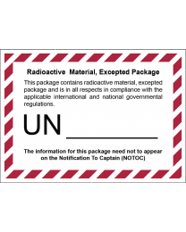 Radioactive Material Excepted Package (Transportetikett)