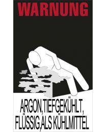 """Warnkennzeichnung Kühlmittel """"ARGON,TIEFGEKÜHLT,FLÜSSIG,ALS KÜHLMITTEL"""